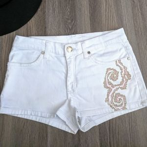 Versace Jeans White Bedazzled Denim Shirts Size 26